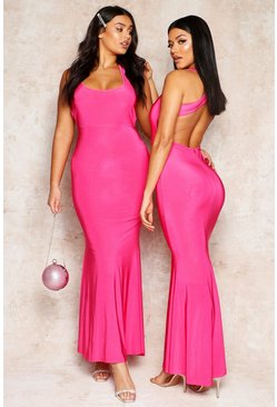 Womens Hot pink Cross Back Fishtail Maxi Dress