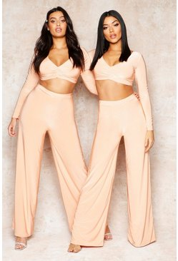 Womens Apricot Double Layer Ruched Top & Wide Leg Trouser Co-Ord