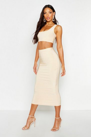 Womens Nude Double Layer Square Neck & Midaxi Co-Ord
