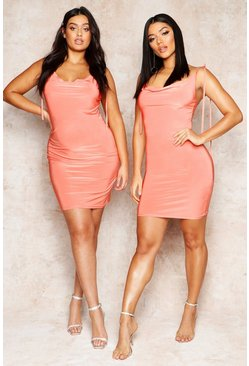 Coral Cowl Neck Tie Strap Detail Mini Dress