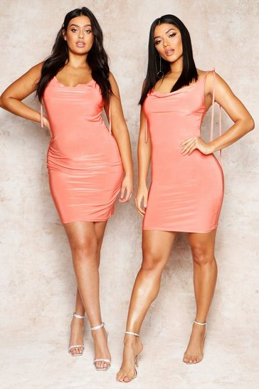 Womens Coral Cowl Neck Tie Strap Detail Mini Dress