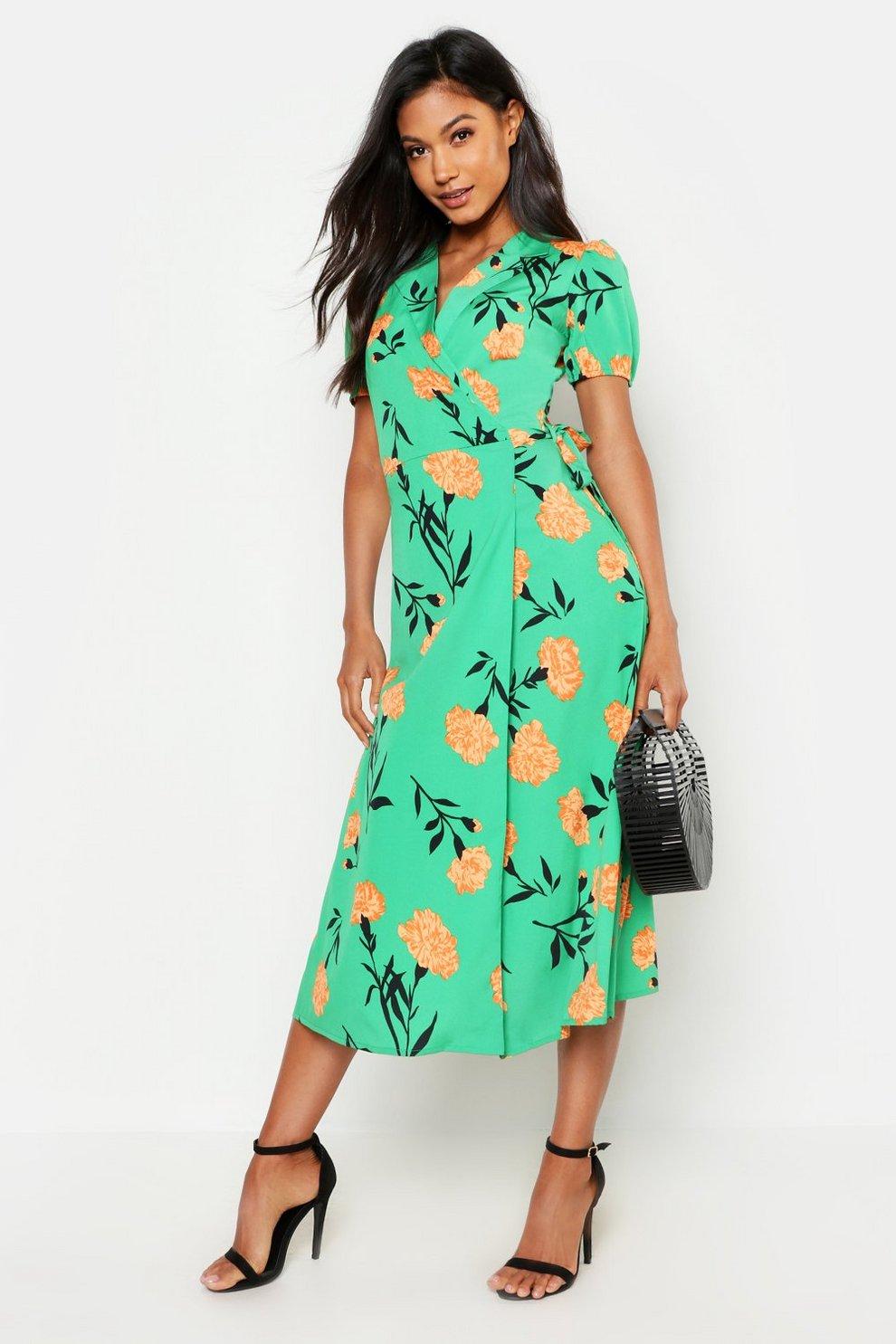 1b206e0c1b Green Floral Print Tie Wrap Midi Skater Dress