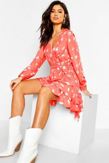 Womens Coral Scribble Ruffle Skater Dress