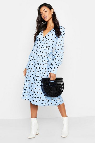 Womens Blue Woven Wrap Dalmation Button Side Midi Dress