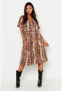 Womens Brown V Neck Snake Print Midi Smock Dress