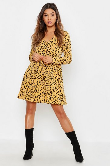 Womens Mustard Woven Dalmation Spot Smock Dress