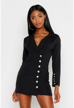 Black Gold Button Front Blazer Dress
