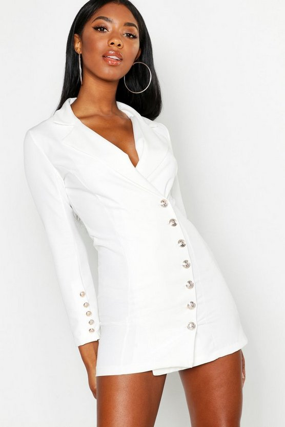 Womens White Gold Button Front Blazer Dress