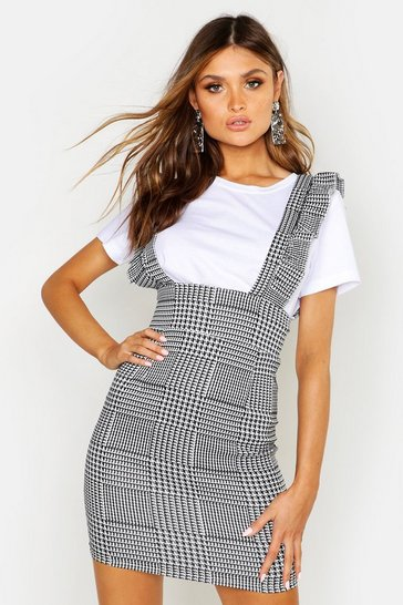 Womens Black Check Plunge Front Ruffle Pinafore Dress