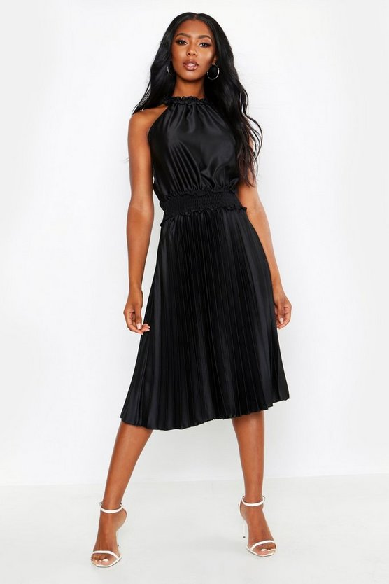 Womens Black Shirred Waist Pleated Midi Dress
