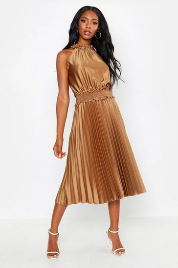 Brown Shirred Waist Pleated Midi Dress