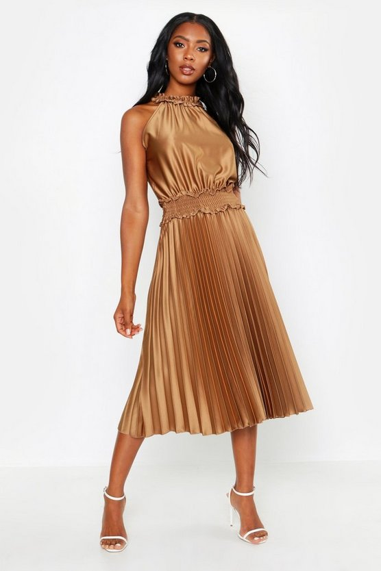 Womens Brown Shirred Waist Pleated Midi Dress