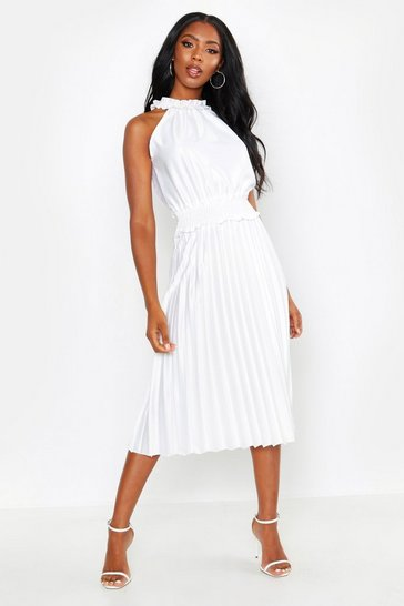 White Shirred Waist Pleated Midi Dress