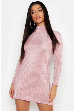Womens Rose Crinkle High Neck Shift Dress