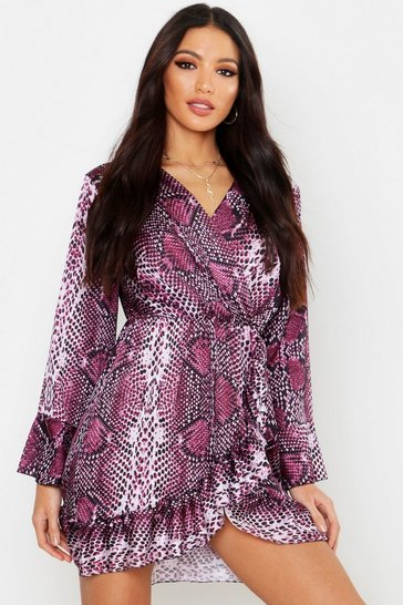 Womens Purple Satin Snake Ruffle Tea Dress