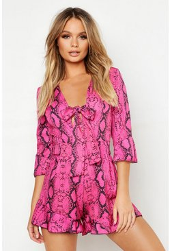 Womens Pink Snake Print Knot Front Playsuit