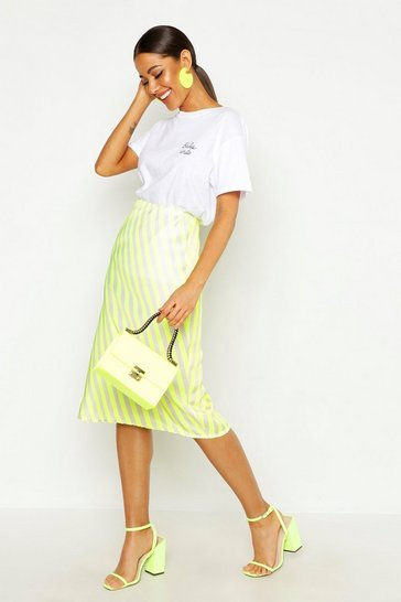 Womens Yellow Neon Stripe Satin Bias Midi Skirt