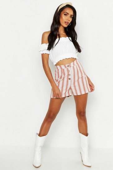 Womens Terracotta Linen Stripe Button Front Shorts