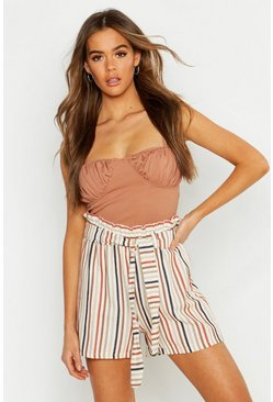 Womens Terracotta Linen Stripe Gathered Waist Shorts