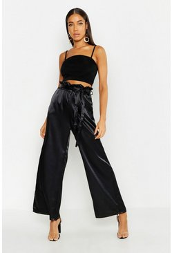 Womens Black Paperbag Waist Satin Wide Leg Pants