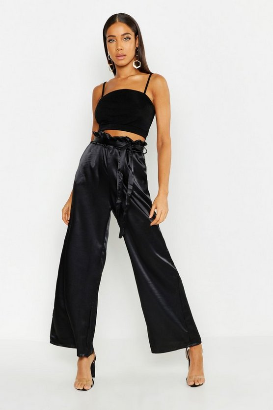 Womens Black Paperbag Waist Satin Wide Leg Trousers