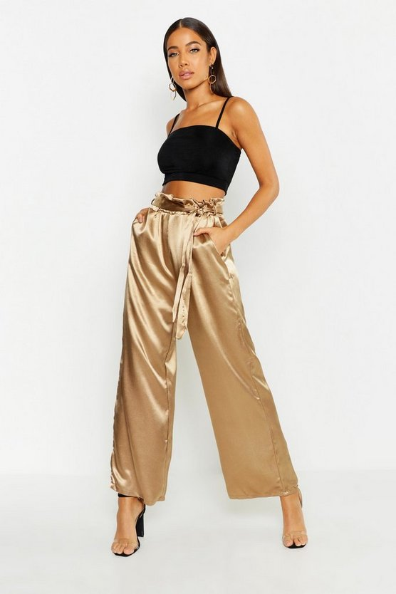 Womens Champagne Paperbag Waist Satin Wide Leg Trousers