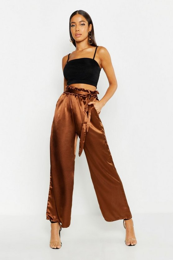 Womens Chocolate Paperbag Waist Satin Wide Leg Trousers