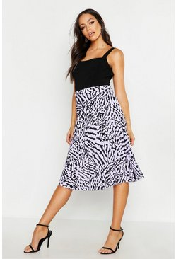 Womens Lilac Printed Pleated Midi Skirt