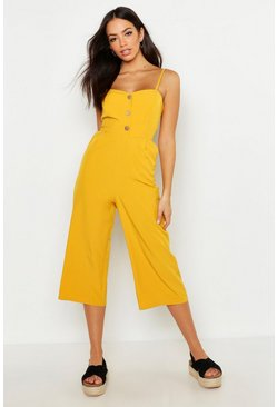 Womens Mustard Button Front Wide Leg Culotte Jumpsuit