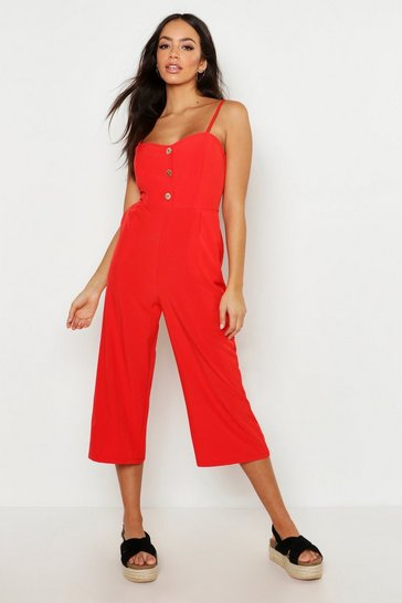 Orange Button Front Wide Leg Culotte Jumpsuit