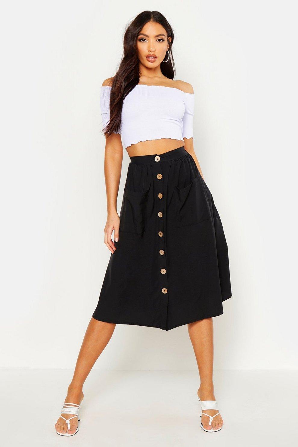 fea2e3e3703d Button Front Pocket Detail Midi Skirt | Boohoo