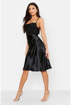 Womens Black Bias Satin Slip Midi Skirt