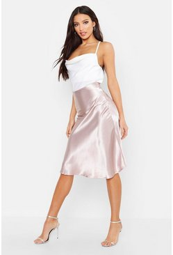 Womens Oyster Bias Satin Slip Midi Skirt