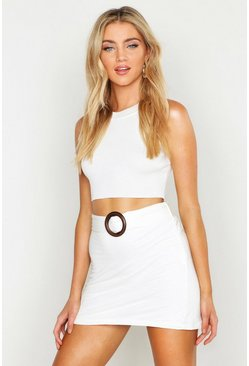 Womens Ivory O Ring Linen Look Mini Skirt