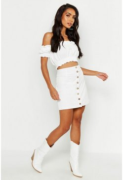 Ivory Button Front Linen Look Mini Skirt