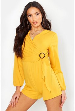 Mustard Horn O Ring Wrap Front Playsuit