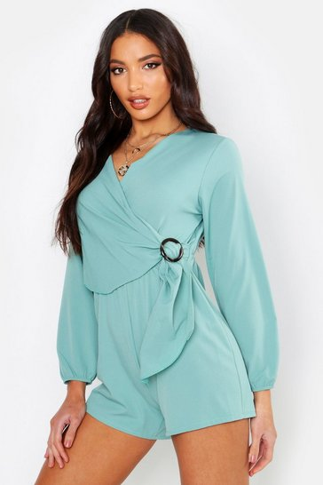 Womens Sage Horn O Ring Wrap Front Playsuit