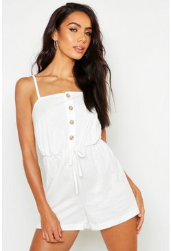 Womens Ecru Button Front Linen Look Playsuit