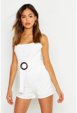 Womens Ivory O Ring Linen Look Turn Up Shorts