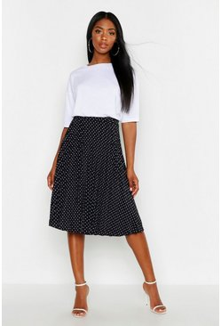 Womens Black Polka Dot Pleated Midi Skirt