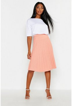 Womens Coral Polka Dot Pleated Midi Skirt