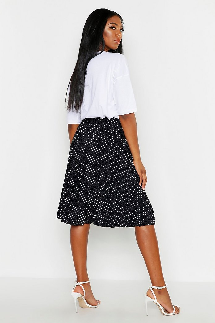 Polka Dot Pleated Midi Skirt | boohoo