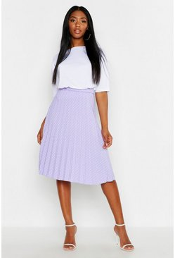 Womens Lilac Polka Dot Pleated Midi Skirt