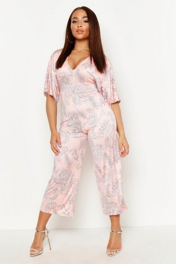 Womens Coral Paisley Kimono Sleeve Culotte Jumpsuit