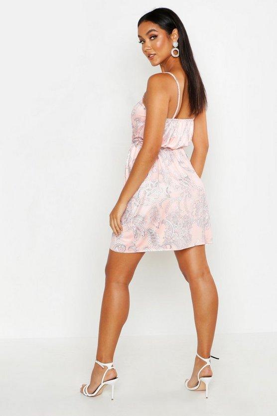 Paisley Slinky Wrap Front Tie Mini Dress