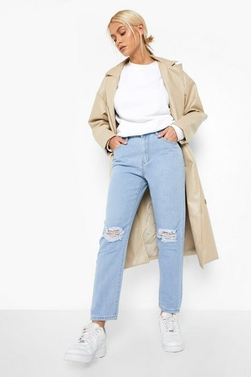 Womens Light blue High rise Distressed Straight Leg Jean