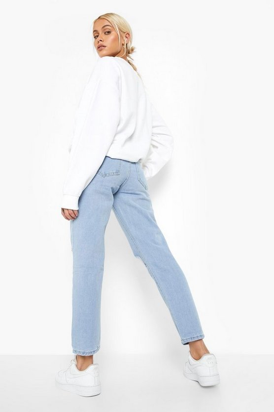 High rise Distressed Straight Leg Jean