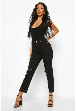 Womens Black High Rise Distressed Straight Leg Jean