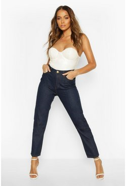 Dark blue High Rise Straight Leg Jean
