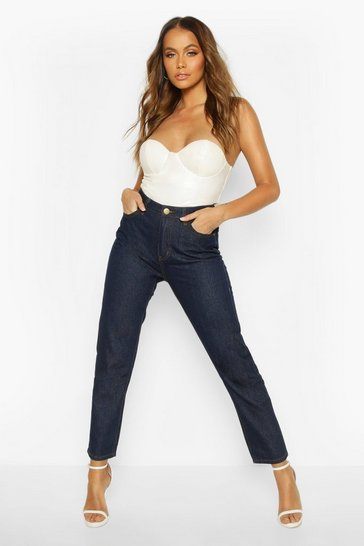 Womens Dark blue High Rise Straight Leg Jean